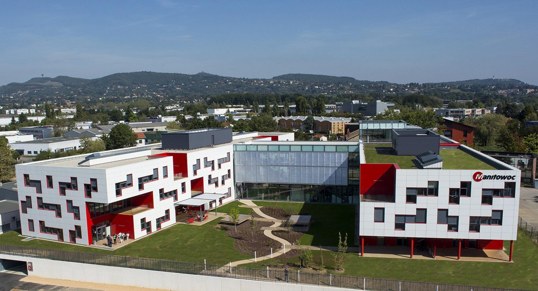 Siège Manitowoc - Dardilly : vue aérienne - Z Architecture